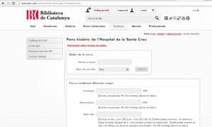 Web de la Biblioteca de Catalunya donde se conserva parte del archivo histórico del Hospital de la Santa Creu i Sant Pau.